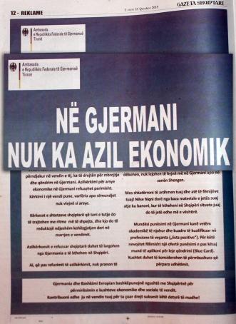 SPONSORIZIM I AMBASADES NE FUSHATEN KUNDER AZILKERKUESVE